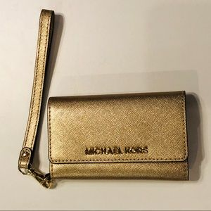 Michael Kors bright gold trifold phone case